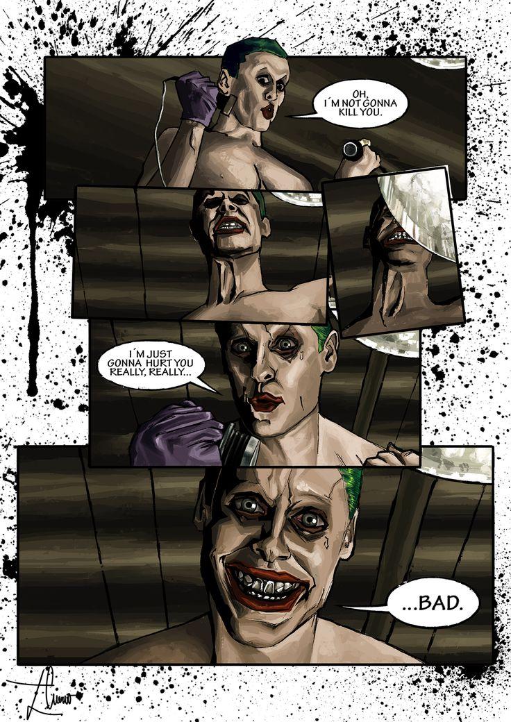 Escena del Joker de la película Escuadrón Suicida, convertida en página de cómic.