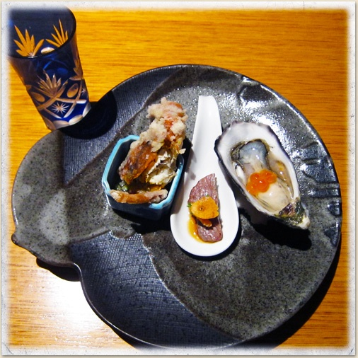 Oyster with Lime Sauce, Soft Shell Crab Karaage and  Seared Wagyu with Citrus Soy Sauce (matched with cold Ranman Reiryo Sake) at Sono Japanese Restaurant in Brisbane