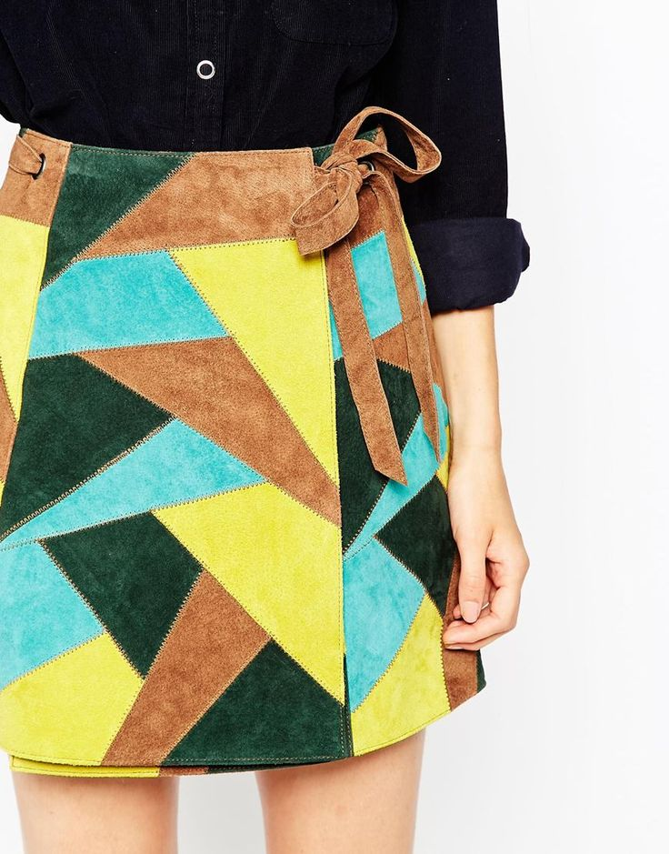Image 3 of ASOS TALL Multi Suede Patch Skirt