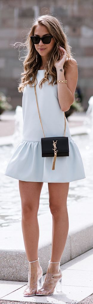 #street #style / pastel dress + YSL