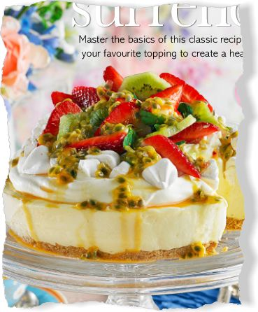 Cheesecake with pavlova topping. Clipped from Better Homes and Gardens using Netpage.