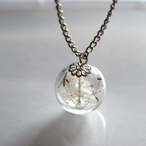 Dandelion Necklace Silver Real Seeds