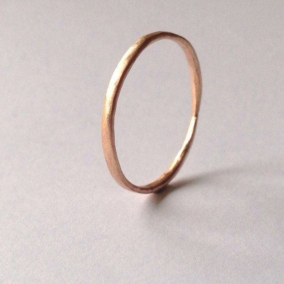 Rose Gold Ring with Organic Texture - Simple - Satin Matte - Thin Wedding Band - Delicate - Rose Pink Red Blush Gold - Unisex