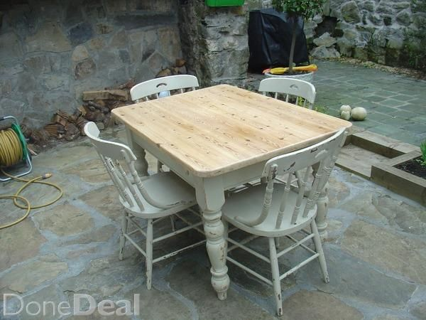 Shabby Chic Pine Top Kitchen Table Raised On A White Base On Turn Legs With  4