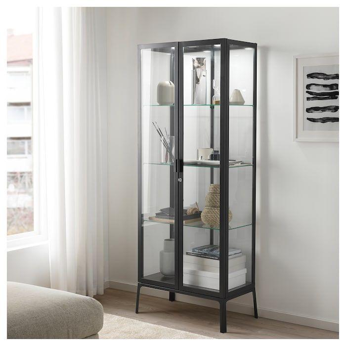 Milsbo Glass Door Cabinet Anthracite 28 3 4x68 7 8