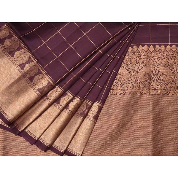 Brown Kanchipuram Silk Handloom Saree with Checks Design k0193