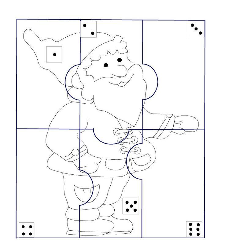 * Kabouterpuzzel! TIP: Print uit op 4 verschillende kleuren, dobbelen én... wie heeft als eerste de kabouterpuzzel klaar?