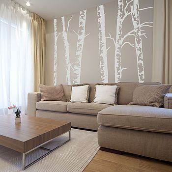 Way cool. This would be awesome. Silver Birch Trees Vinyl Wall Sticker