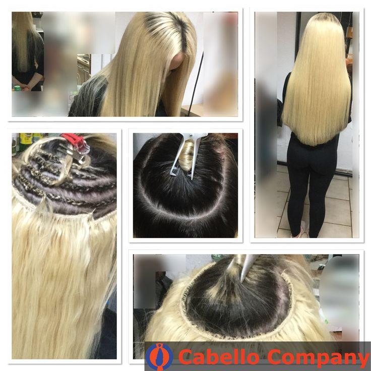 Weaving mit blonden Echthaar Tressen