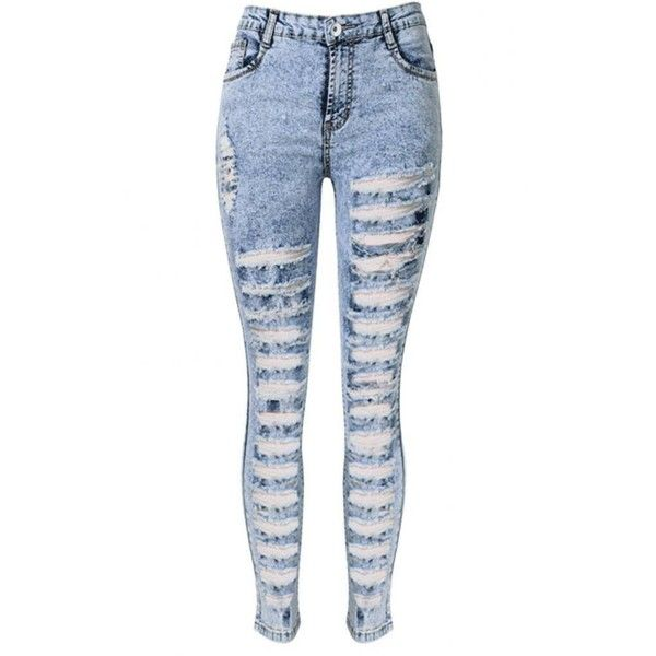 Skinny Jeans In Snow Wash With Extreme Shredded Rips ❤ liked on Polyvore featuring jeans, super skinny jeans, high rise skinny jeans, ripped jeans, skinny jeans and white distressed jeans