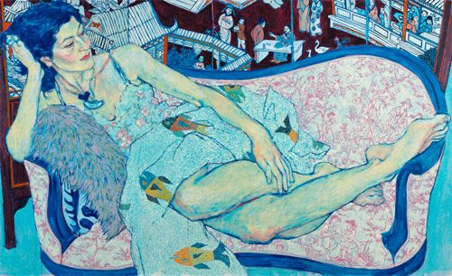 Love these paintings by Hope Gangloff. It's like Egon Schiele & Wayne Thiebaud made an art baby.