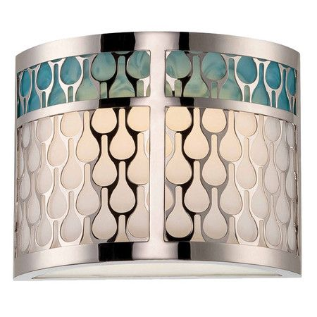 Eco-friendly wall sconce with a white lucite shade and turquoise accents.       Product: Wall sconce      Constructio...