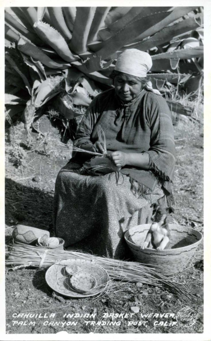 Cahuilla Indian Basket Weaver. Palm Canyon Trading Post, California    Title:  1991.004.012  Contributing Institution:  Agua Caliente Cultural Museum