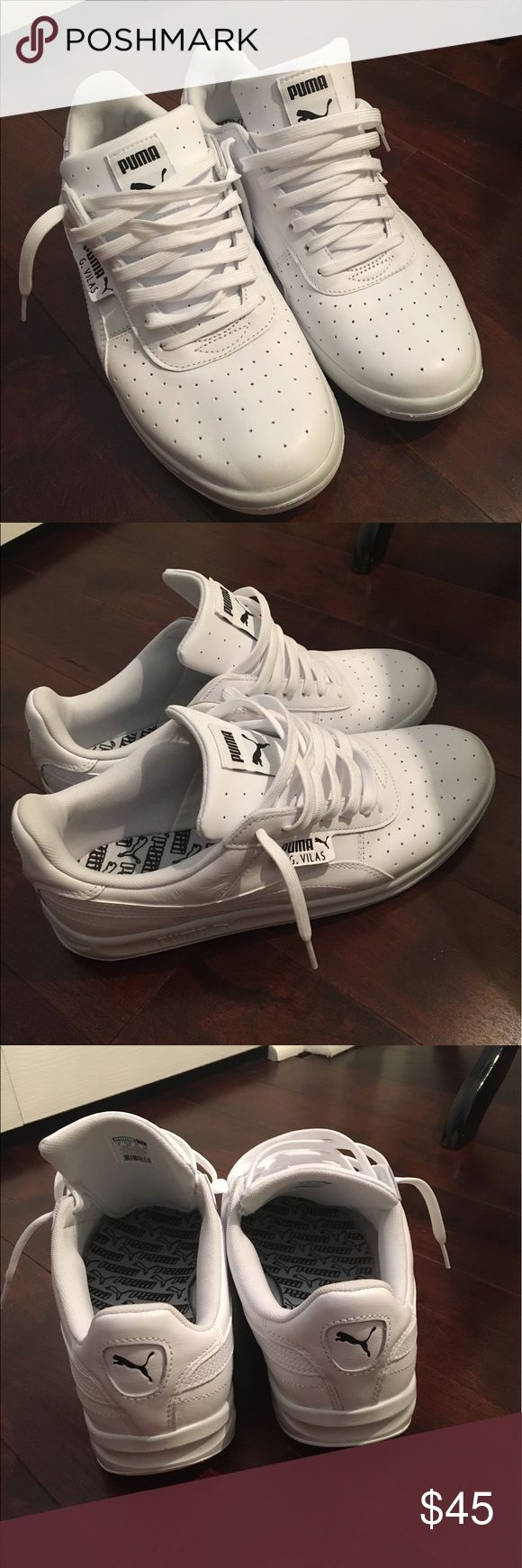 Men's Puma tennis shoes 👟 Puma- White- G.Vilas L2- Worn once- excellent condition-Size 10 (too small for hubby)- NO BOX 👟 Puma Shoes Sneakers