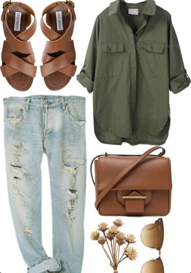 Khaki with tan leather