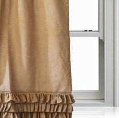 Ruffled Curtain Panel Burlap Drapes Custom Door by AmoreBeaute