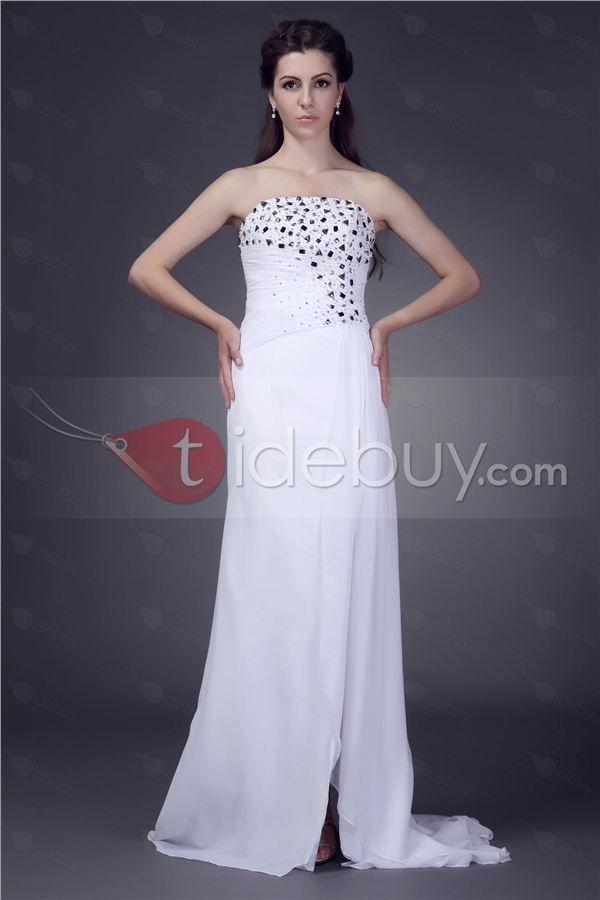 Bienvenida - Fantástico Vestido de Noche/Prom de Chiffon, Sin Tirantes (Envío Gratuito)