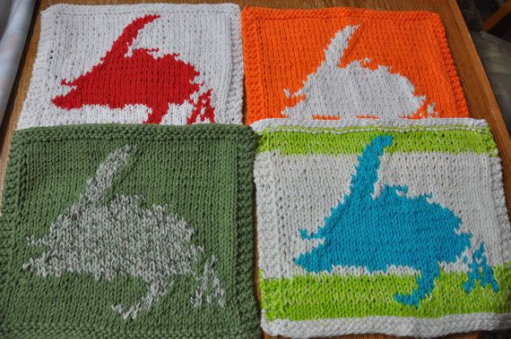 Hand knit Dish cloths with Newfoundland Map