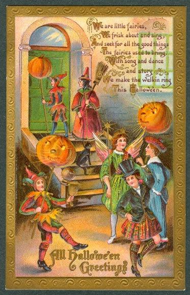 .Fairies Masquerades, Greeting, Hallows Eve, Halloween Vintage, Postcards Fairies, Halloween Postcards, Gottschalk Halloween, Embossing Gottschalk, Victorian Postcards