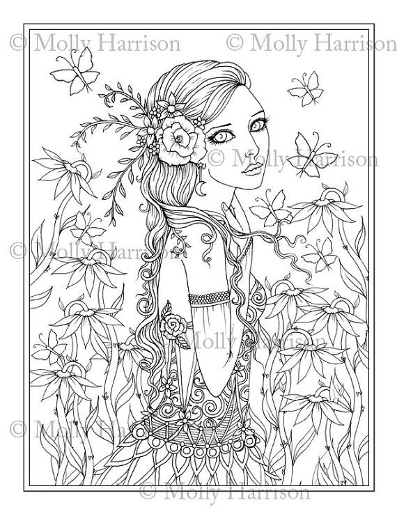 Butterfly Goddess Coloring Page Printable Flower