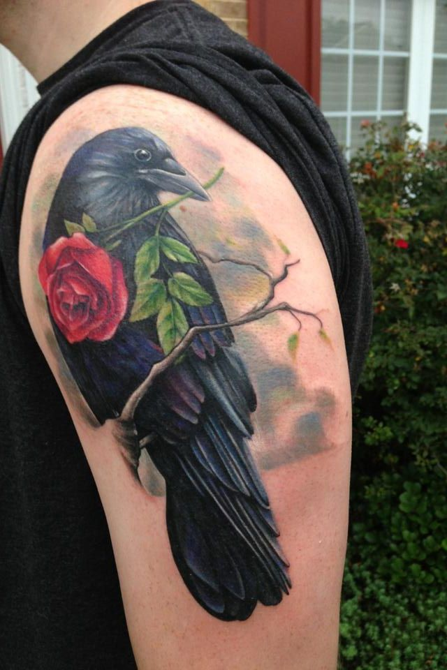 Crow with rose tattoo