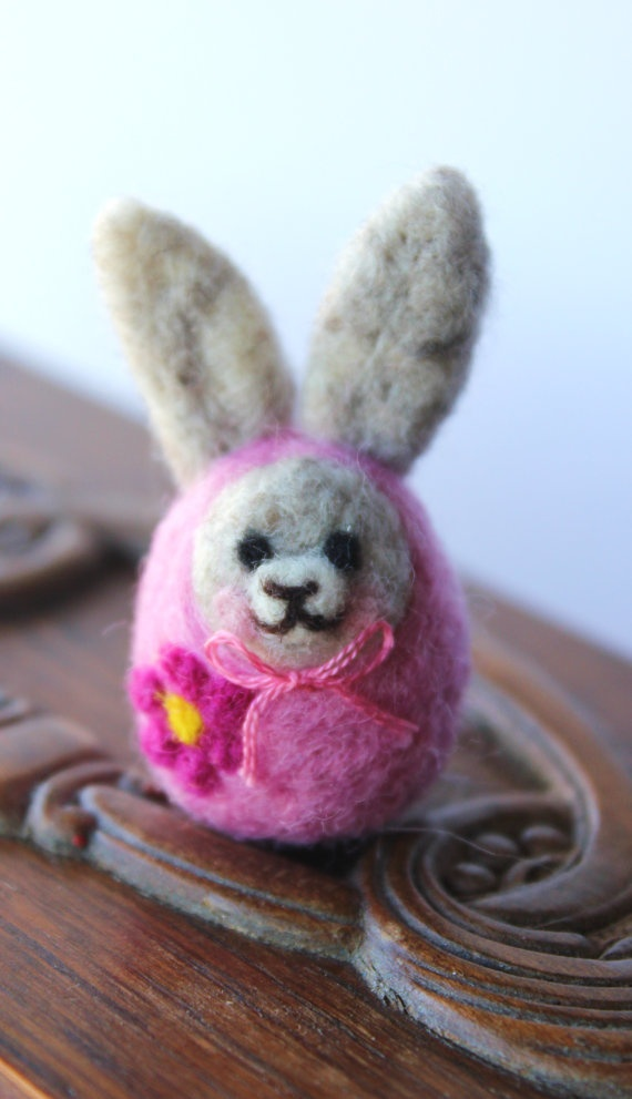 Bunny Babushka  Needle Felt Easter Bunny by TheSnowQueensGarden, $15.50