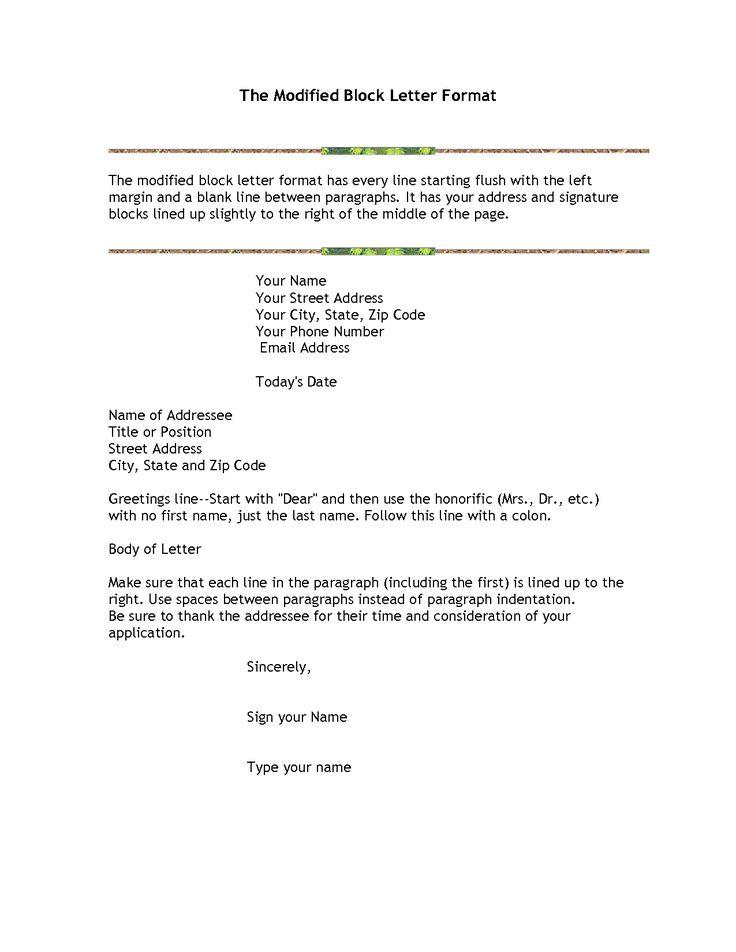 block letter format sample modified semi formal