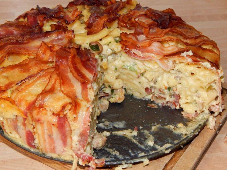 Baconos makaróni torta recept
