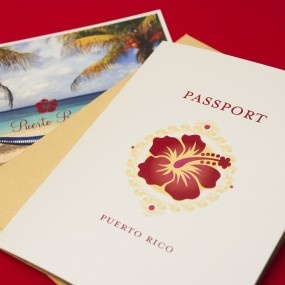 Planning a sunset destination wedding on the beach? This Sunset Hibiscus Passport Wedding Invitation (Puerto Rico) is perfect for your big day.