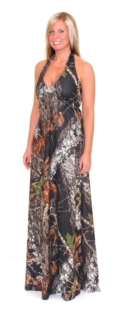Camo Diva Cadence Camo Halter Prom Dress 3X Camouflage. Halter style camo formal gown. Elastic back secures the comfortable fitting camouflage dress. Slightly flared from waist to hem, this camo dress is approximately 45 inches from under the bust to hem. Fits most juniors to plus size women. Made in the USA, Mossy Oak Licensed Product, CamoDiva.com brand.