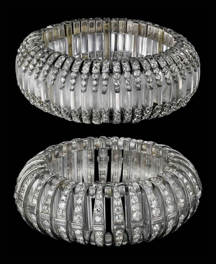 Bracelet, Cartier Paris, 1930 Platinum Baguette-, round old- and single-cut diamonds Thirty rock crystal half-disks and sixty rock crystal b...