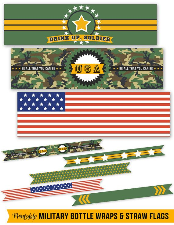 Cool Military Party Printables for the party // by HuesPrintables #tags #labels #signs #birthday #boy #babyshower #decorations #dessert #table #girl #diy #paper #decor #cupcake #topper #classroom #printable #army #navy #usa #marines #patriotic #soldier #toy #armyman #bottlewrapper #straw #flag