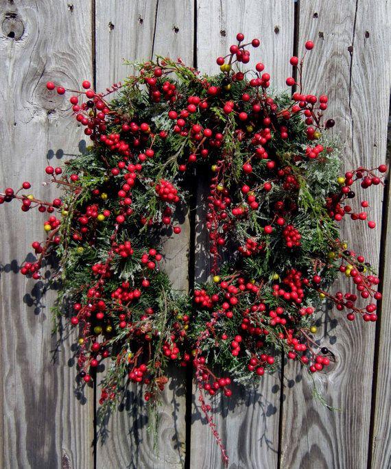 """Holiday Berry Wreath - Christmas Wreath - Front Door Wreath - Winter Wreath - """"Berries Wild"""". $79.00, via Etsy."""
