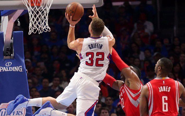 Scarica sfondi Blake Griffin, 4k, dunk, LA Clippers, i giocatori di basket, NBA, i Los Angeles Clippers
