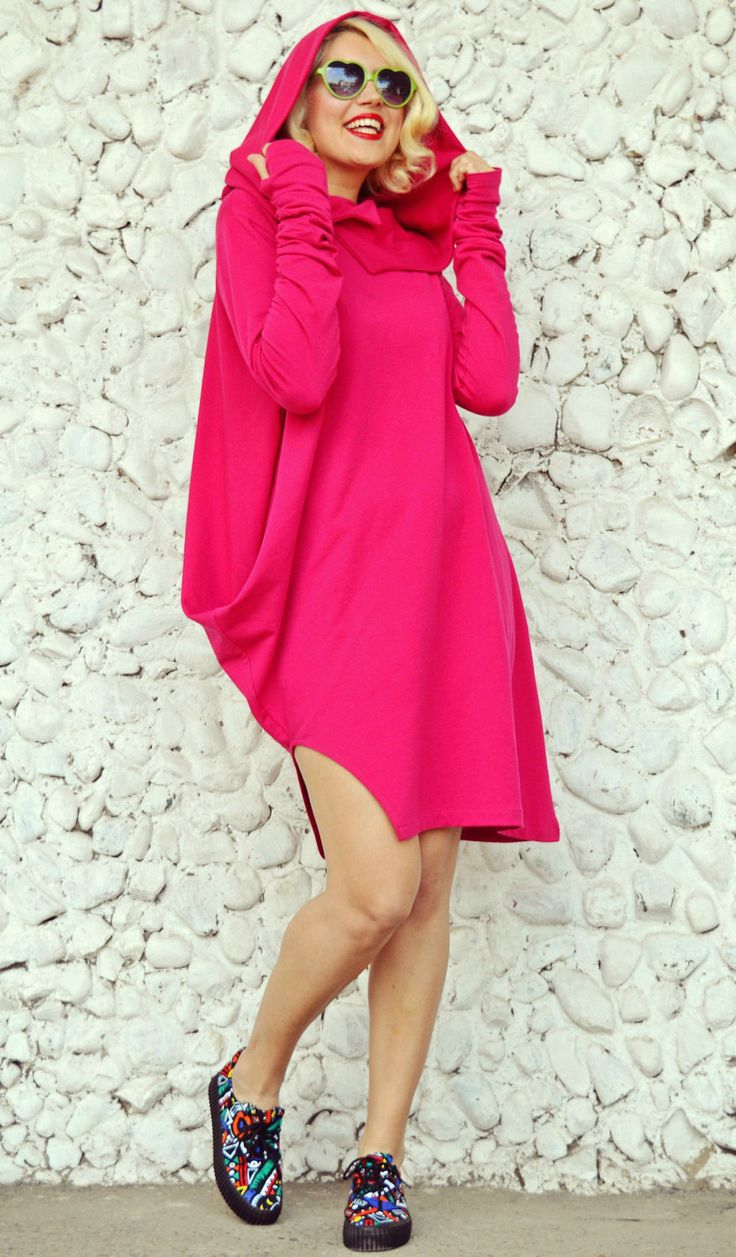 Pink Hooded Shirt, Fuchsia Sweatshirt, Pink Loose Hoodie with Thumb Holes TDK12B by TEYXO https://www.etsy.com/listing/174282050/pink-hooded-shirt-fuchsia-sweatshirt?utm_campaign=crowdfire&utm_content=crowdfire&utm_medium=social&utm_source=pinterest