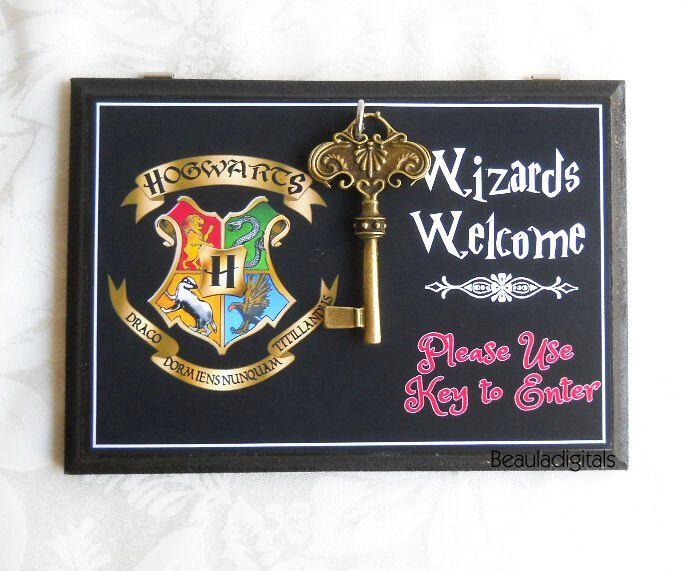 Harry Potter Wizard Door Sign - Wood & Sticker Paper with Door Key- Black color