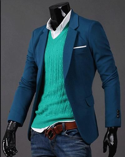Mens Suit Solid Slim Single Breasted Lapel Long Sleeve Men Casual ...