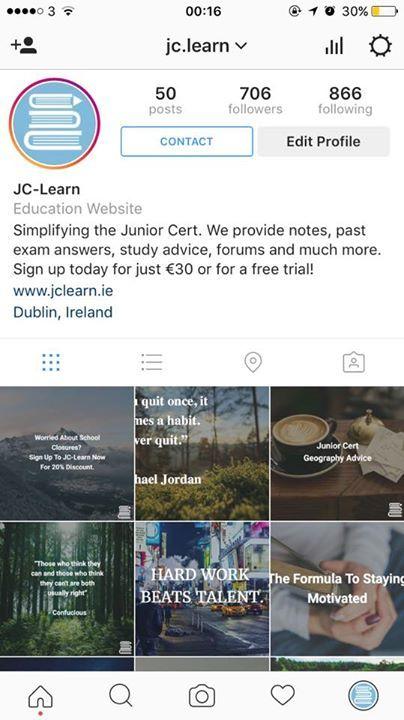 "Add our Instagram page ""jc.learn"" for daily tips and constant updates of new features and discounts. We are always providing value to our followers in the form of study tips specific topic advice exam strategies and much more!  - http://ift.tt/1HQJd81"