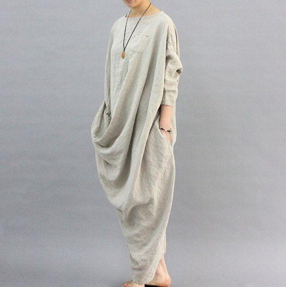 Unique Design Linen Dress Oversized Kaftan Dress Back Slit Maxi Dress Loose Long Dress SD113