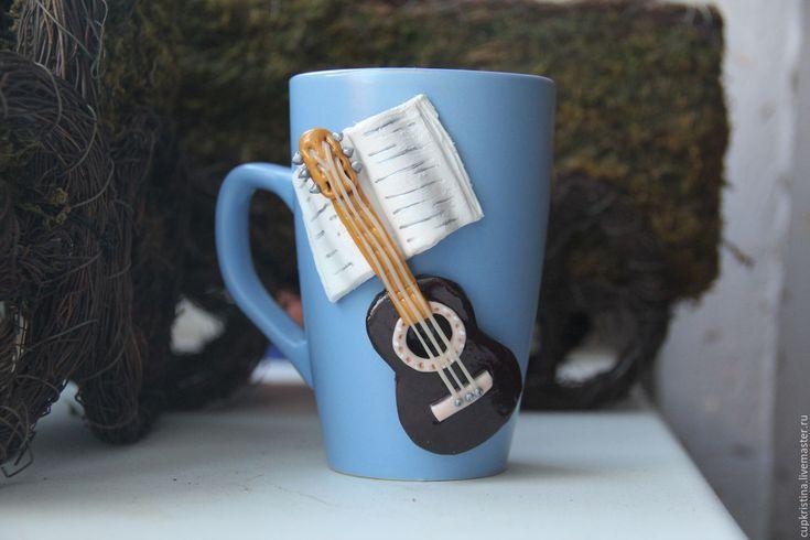 Кружка Гитара с нотами из полимерной глины