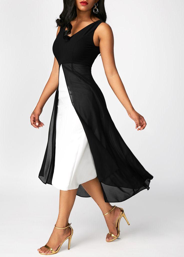 Sleeveless Mesh Panel V Neck Black Dress on sale only US$33.95 now, buy cheap Sleeveless Mesh Panel V Neck Black Dress at liligal.com