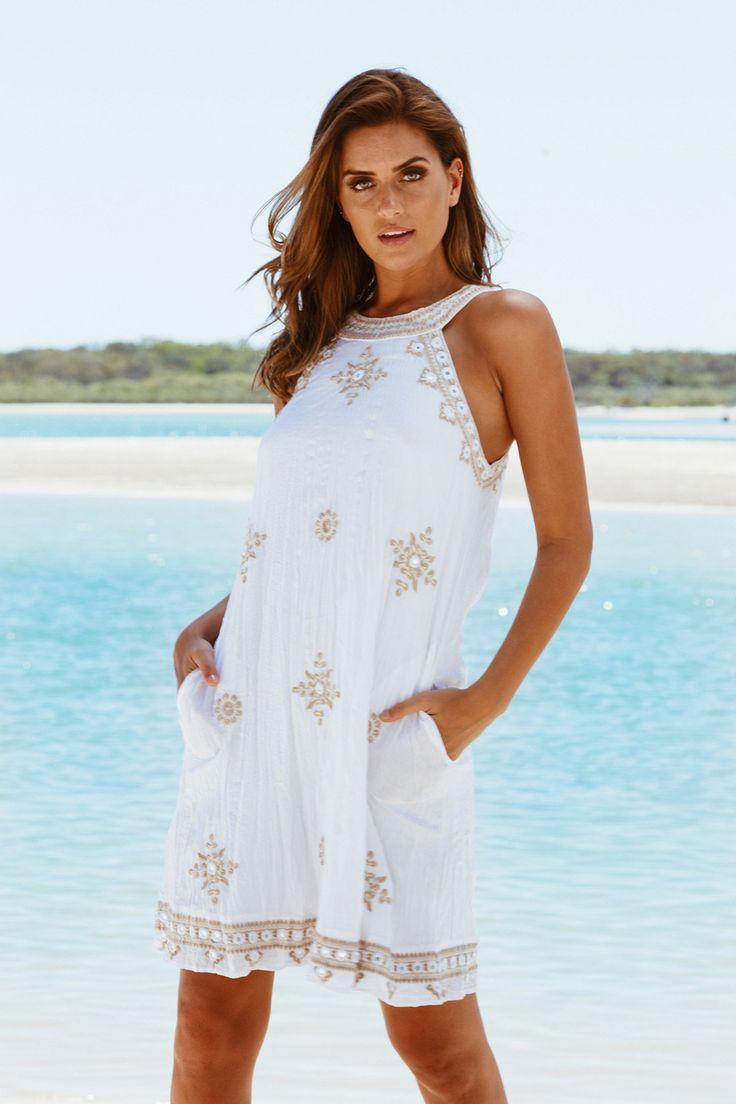 Lula Soul - Rejoice Halter Dress - White
