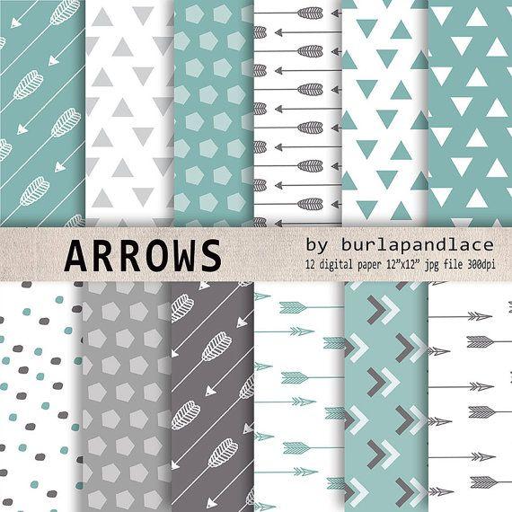 Mint grey arrows digital paper, arrows clipart, Navaho clipart, arrows, Native American Style, arrows digital