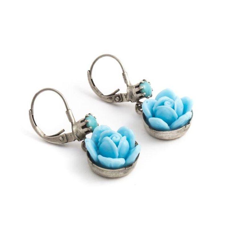 De Luxe Turquoise blauwe oorbellen met roos
