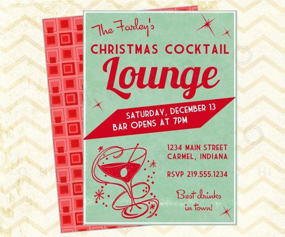 Items similar to Retro Christmas Cocktail party Printable Invite - lounge - martini - red Aqua - mod on Etsy