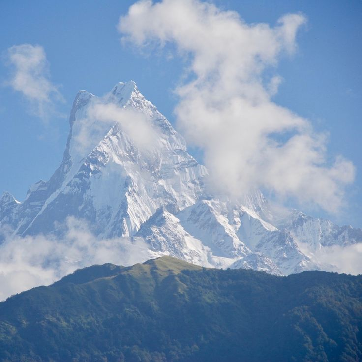 Machapuchare, or the sacred Fishtail Mountain that has never been submitted.  Taken from Ghandruk,  Nepal