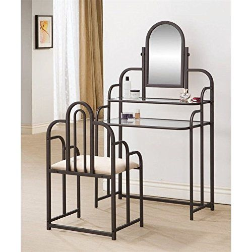 Vanity dimensions: 29.5W x 16D x 52H in. Chair dimensions: 19.5W x 13.5D x 32.5H in. Crafted with glass and metal