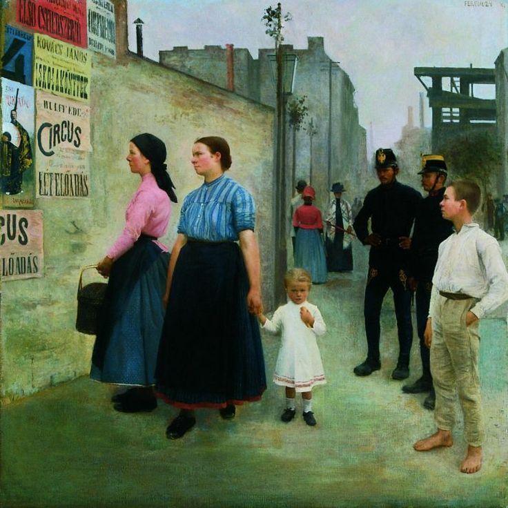 Károly Ferenczy :  Plakátok előtt (1891)