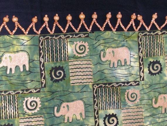 Quilted TableRunner AFRICAN ELEPHANT TABLE in by TessieTextile