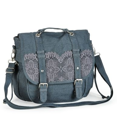 Crochet-Trim Convertible Messenger Backpack. PERFECT for a missionary bag. Was $59.50, now $18!(: